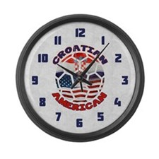Croatian American Soccer Fan Large Wall Clock