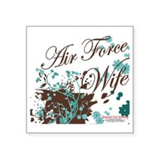 "Air Force wife flower brown Square Sticker 3"" x 3"""