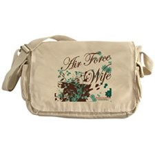 Air Force wife flower brown Messenger Bag