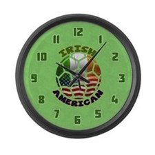 Irish American Soccer Fan Large Wall Clock