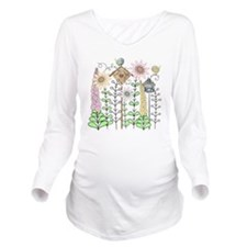 Cottage Garden Birds Long Sleeve Maternity T-Shirt