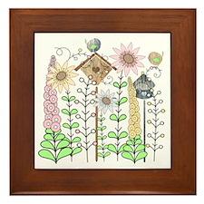 Cottage Garden Birds and Flowers Framed Tile