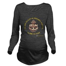 navy gold son in law.png Long Sleeve Maternity T-S