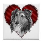 Sheltie Heart Tile Coaster