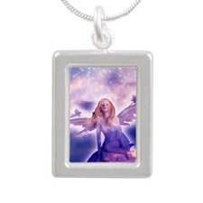 Fairy with Stars Silver Portrait Necklace