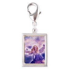 Fairy with Stars Silver Portrait Charm