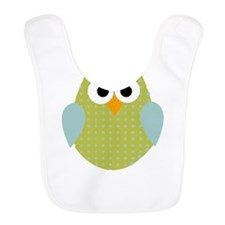 Green Blue Polka Dot Owl Bib
