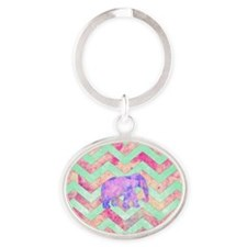 Whimsical Purple Elephant Mint Green Oval Keychain