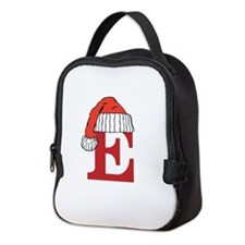 Letter E Christmas Monogram Neoprene Lunch Bag