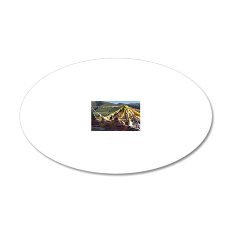 Prayer flags in Tibet 20x12 Oval Wall Decal