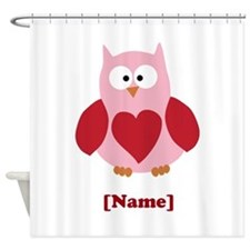 Personalized Plain Valentines Owl Shower Curtain