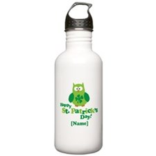 Personalized St Patrick's Day Owl Water Bottle