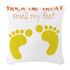 ttick or treat feet Woven Throw Pillow