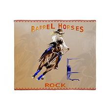 Barrel Horses Rock-Yardsign Throw Blanket
