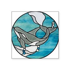 """whale stained glass Square Sticker 3"""" x 3"""""""