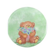 "Watercolor Teddy Bear Bunch of Flowers Fun 3.5"" Bu"