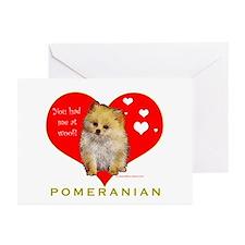Pomeranian Valentine  Greeting Cards (Pk of 10