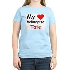 My heart belongs to tate Women's Pink T-Shirt