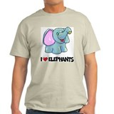 I Love Elephants Ash Grey T-Shirt
