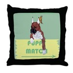 Puppy Boxer in Ear Tapes Throw Pillow