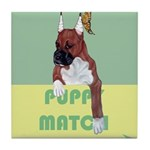 Puppy Boxer in Ear Tapes Tile Coaster