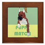Puppy Boxer in Ear Tapes Framed Tile