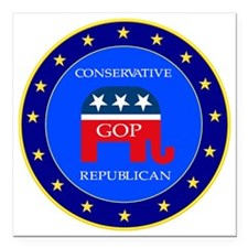"GOP Square Car Magnet 3"" x 3"""