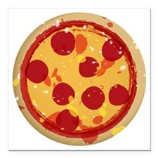 "pizza-01 Square Car Magnet 3"" x 3"""