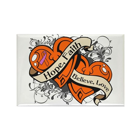 Psoriasis Hope Dual Hearts Rectangle Magnet