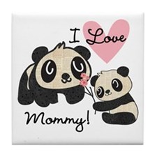 Pandas I Love Mommy Tile Coaster