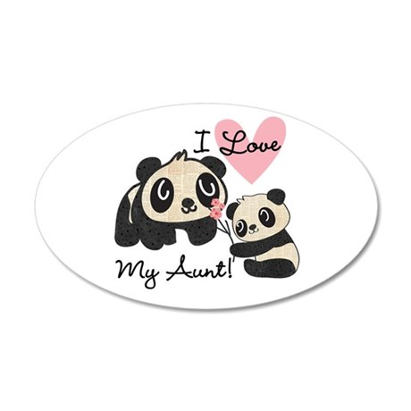 Pandas I Love My Aunt 20x12 Oval Wall Decal