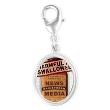 Harmful If Swallowed Silver Oval Charm