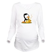 Popo Plays Saxophine Long Sleeve Maternity T-Shirt