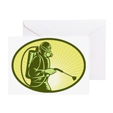 Pest control exterminator spraying Greeting Card
