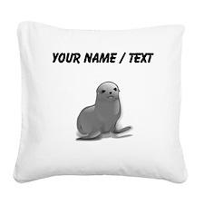 Custom Grey Seal Square Canvas Pillow