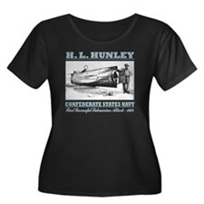 HL Hunle Women's Plus Size Dark Scoop Neck T-Shirt