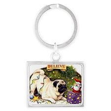 3-pug_christmas_cards Landscape Keychain