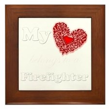 my heart fireman white Framed Tile