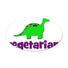 dinosaur_vegetarian Oval Car Magnet