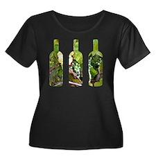 winebott Women's Plus Size Dark Scoop Neck T-Shirt