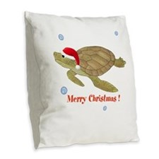 Personalized Christmas Sea Turtle Burlap Throw Pil