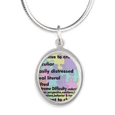 aspergers traits 3 copy Silver Oval Necklace