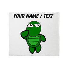 Custom Cartoon Turtle Thinking Throw Blanket