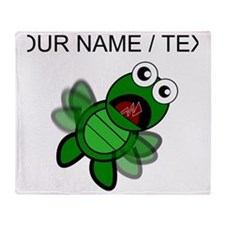 Custom Cartoon Turtle Falling Throw Blanket