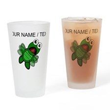 Custom Cartoon Turtle Falling Drinking Glass
