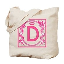 MONOGRAM LETTER D Fuchsia Ribbons Tote Bag