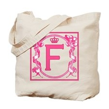 Letter F Fuchsia Ribbons Monogram Tote Bag