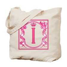 Letter I Fuchsia Ribbons Monogram Tote Bag