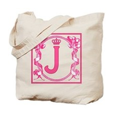 Letter J Fuchsia Ribbons Monogram Tote Bag