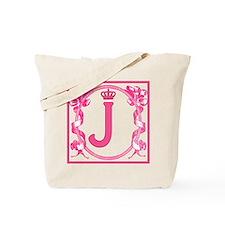 Letter J Fuchsia Ribbons Monogram Tote Bag